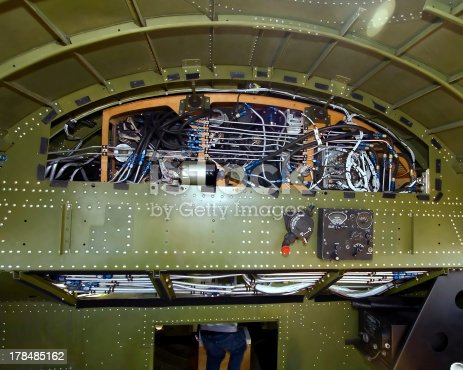 Part of the interior of a B-17 Bomber on display with panel removed.