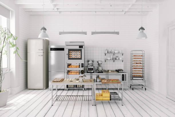 Interior Of Bakery Kitchen stock photo