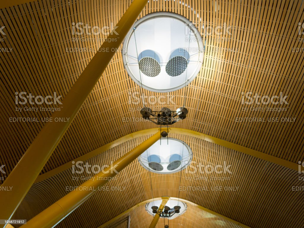 Interior of Barajas Airport in Madrid, Spain. stock photo