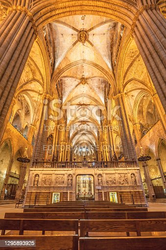 istock Interior of Barcelona Cathedral in Barcelona Spain 1295893925