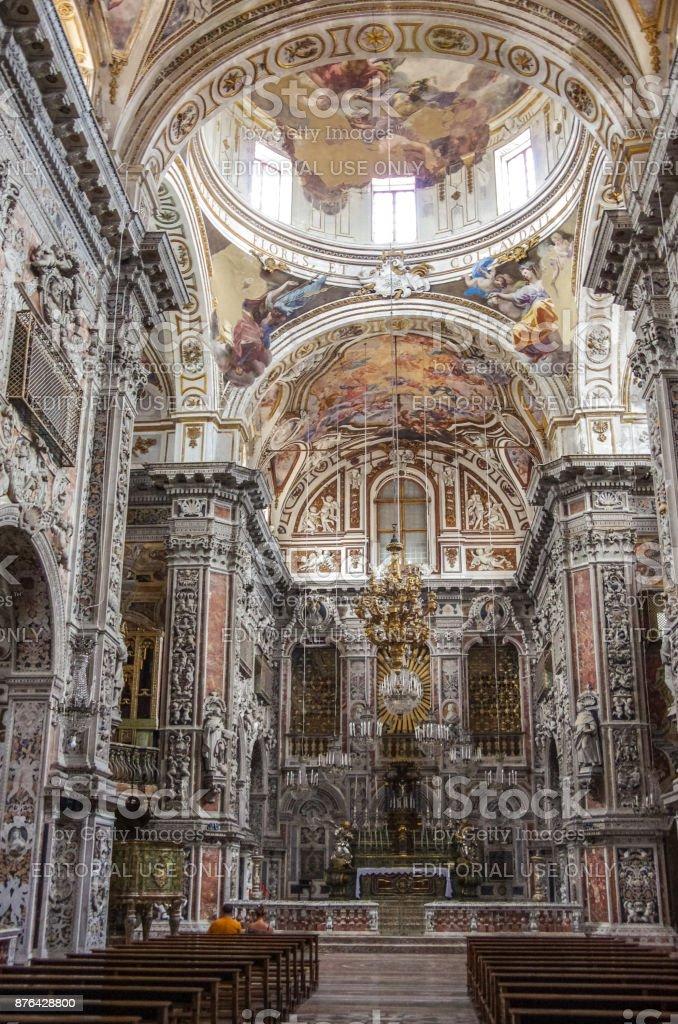 Interior of baroque church Chiesa di Santa Caterina in Palermo Italy. stock photo