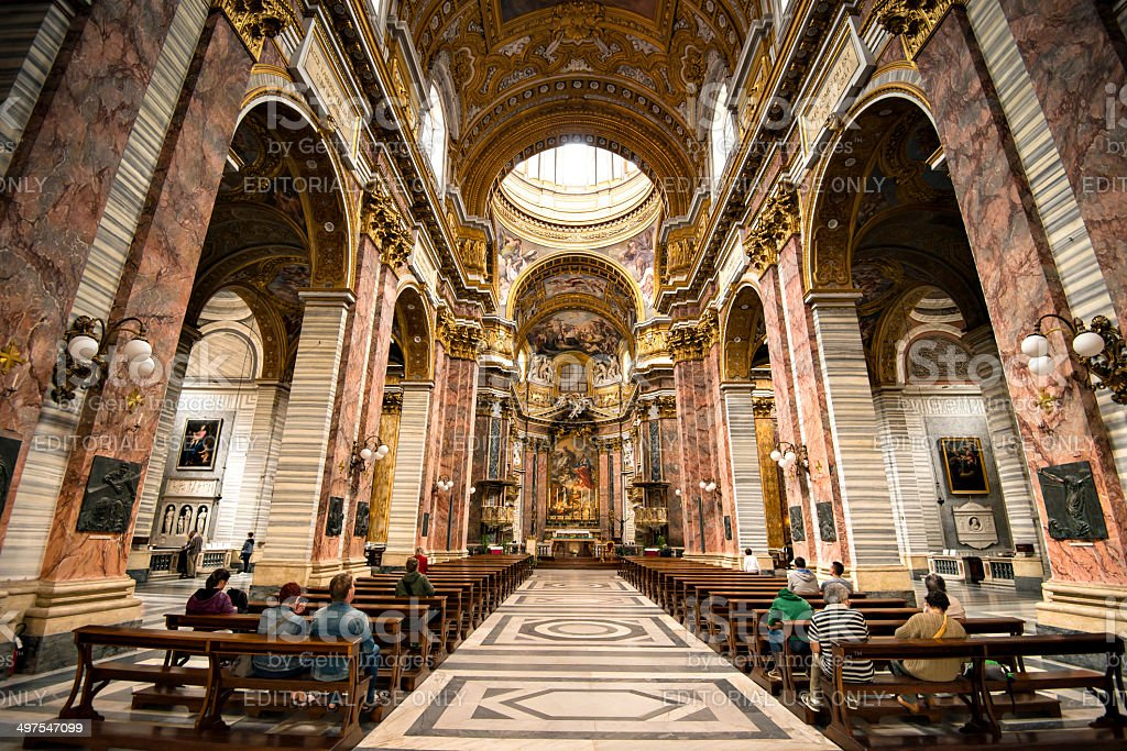 Interior of Basilica dei SS. Ambrogio e Carlo royalty-free stock photo