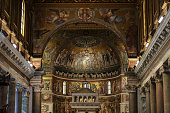 Rome, Italy - June 13, 2015: Interior of Basilica di Santa Maria in Trastevere in Rome. Italy