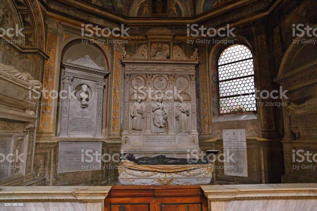 Interior of Basilica Parrocchiale Santa Maria del Popolo stock photo