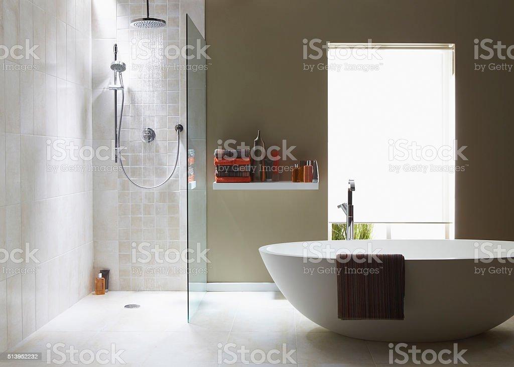 Innenansicht Badezimmer in kühlen, grünen Zone mit einem running-Dusche - Lizenzfrei Badezimmer Stock-Foto
