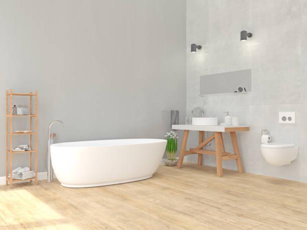 innenansicht des badezimmer  - minimalbadezimmer stock-fotos und bilder