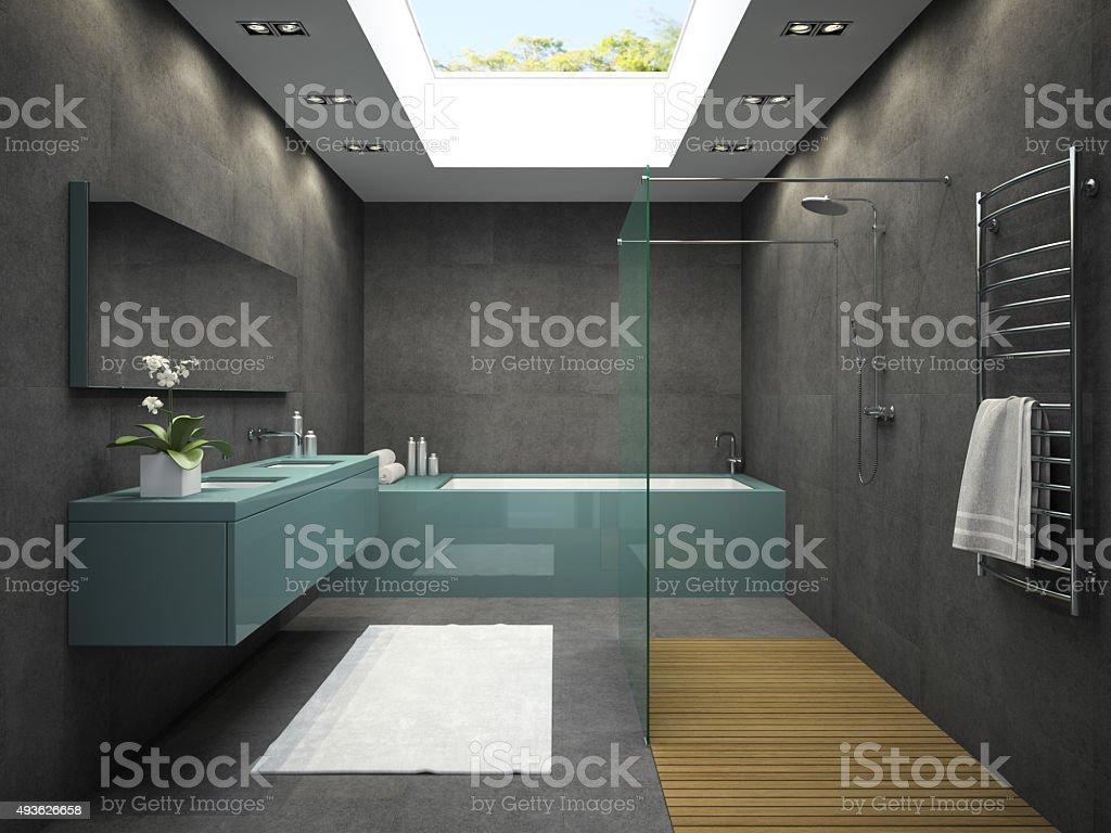 Innenansicht Badezimmer mit raumhohe Fenster 3D Abbildung 4 - Lizenzfrei 2015 Stock-Foto