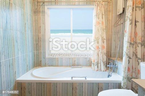 istock Interior of bathroom with sea view 817548032