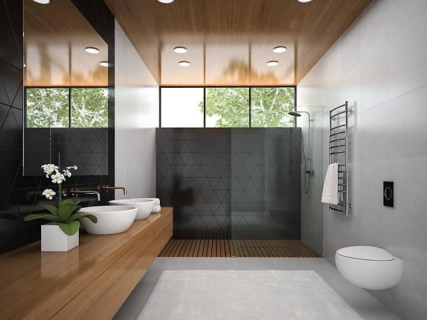 innenansicht badezimmer mit holzdecke 3d abbildung 6 - badezimmermöbel holz stock-fotos und bilder
