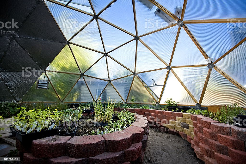 Interior of Beautiful Greenhouse Dome stock photo