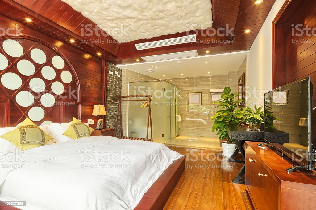 interior of bed room stock photo