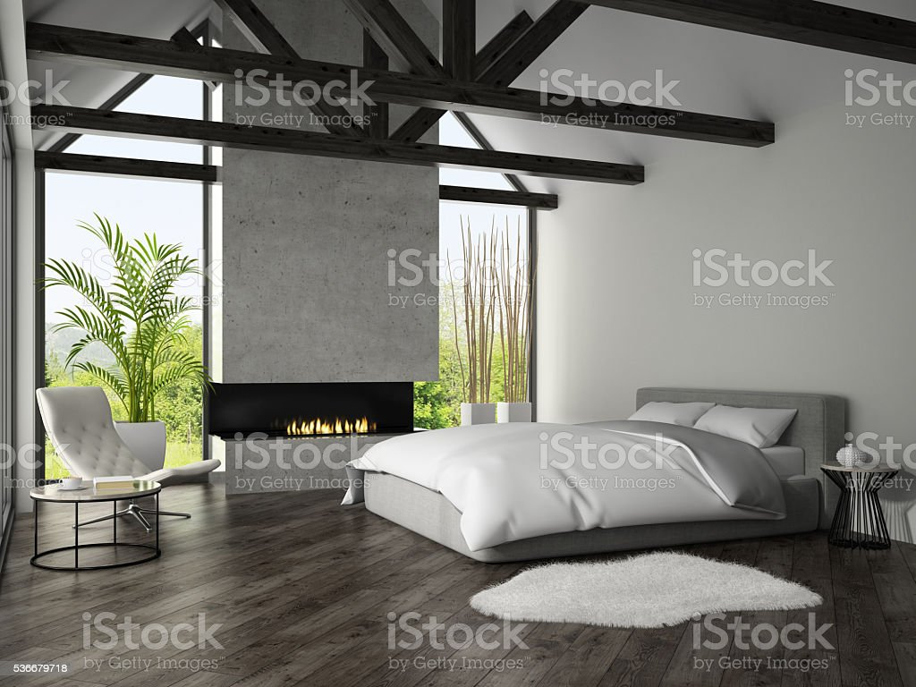 Interior of bedroom with fireplace 3D rendering 3 stock photo