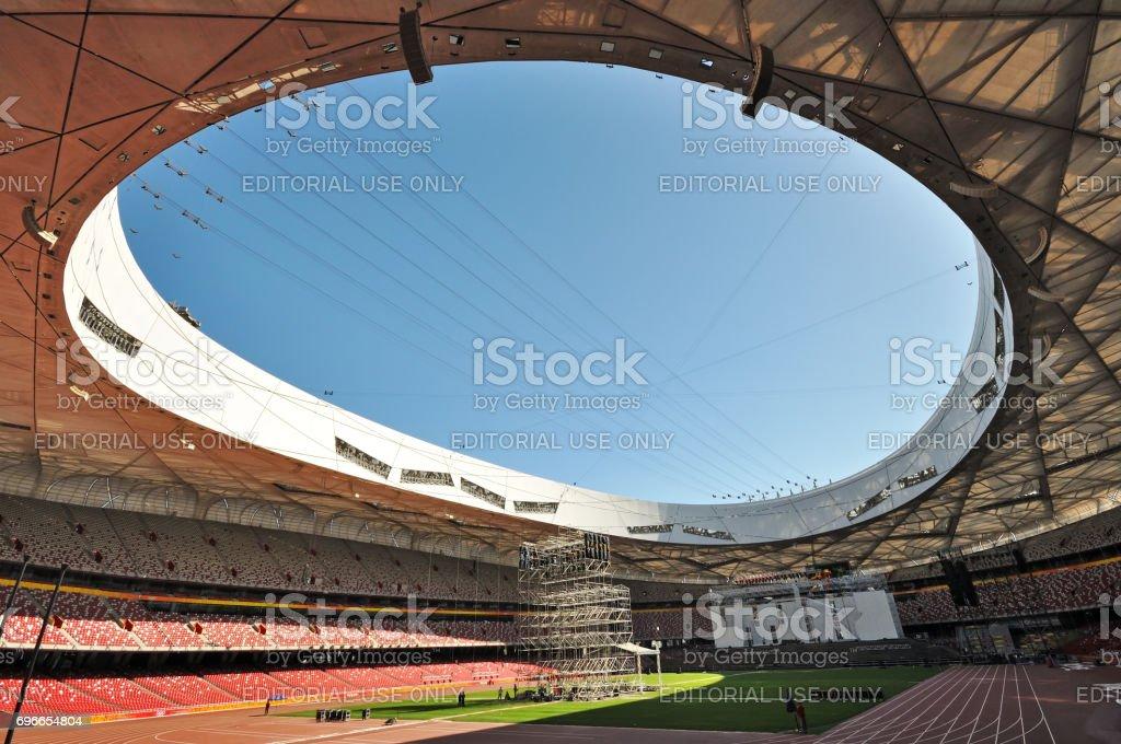 Interior of Beijing National Olympic Stadium stock photo