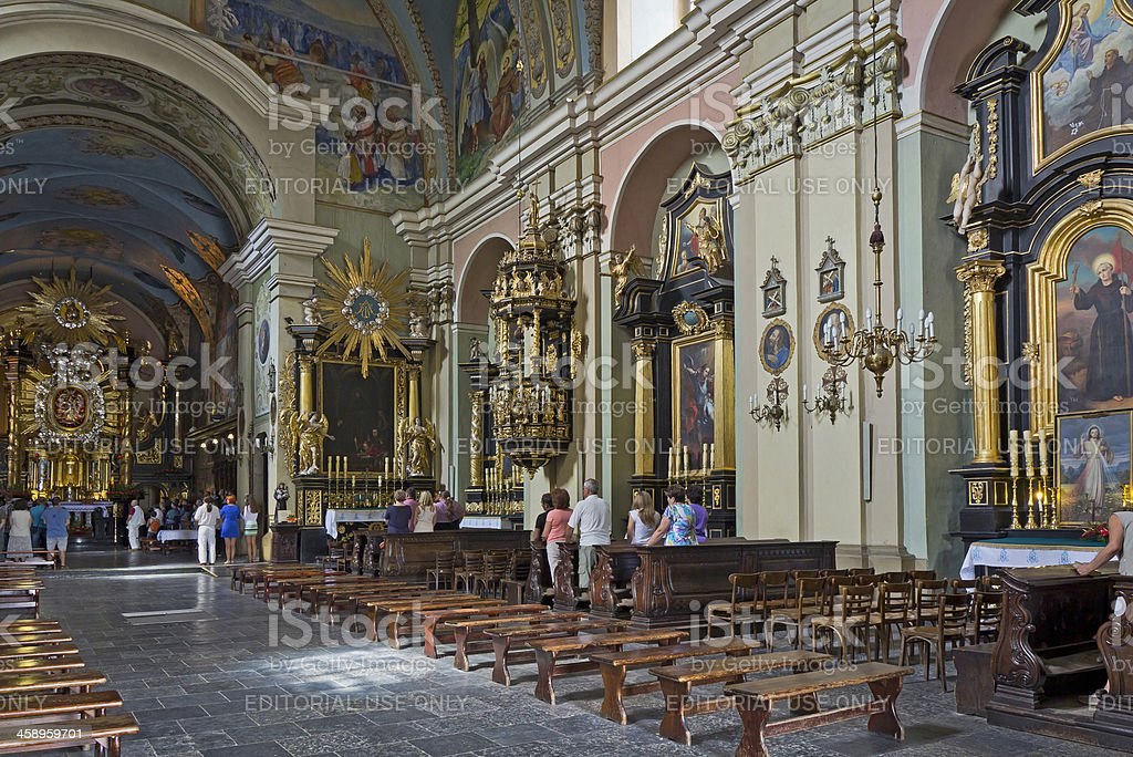 Interior of Bernardine monastery in Kalwaria Zebrzydowska royalty-free stock photo