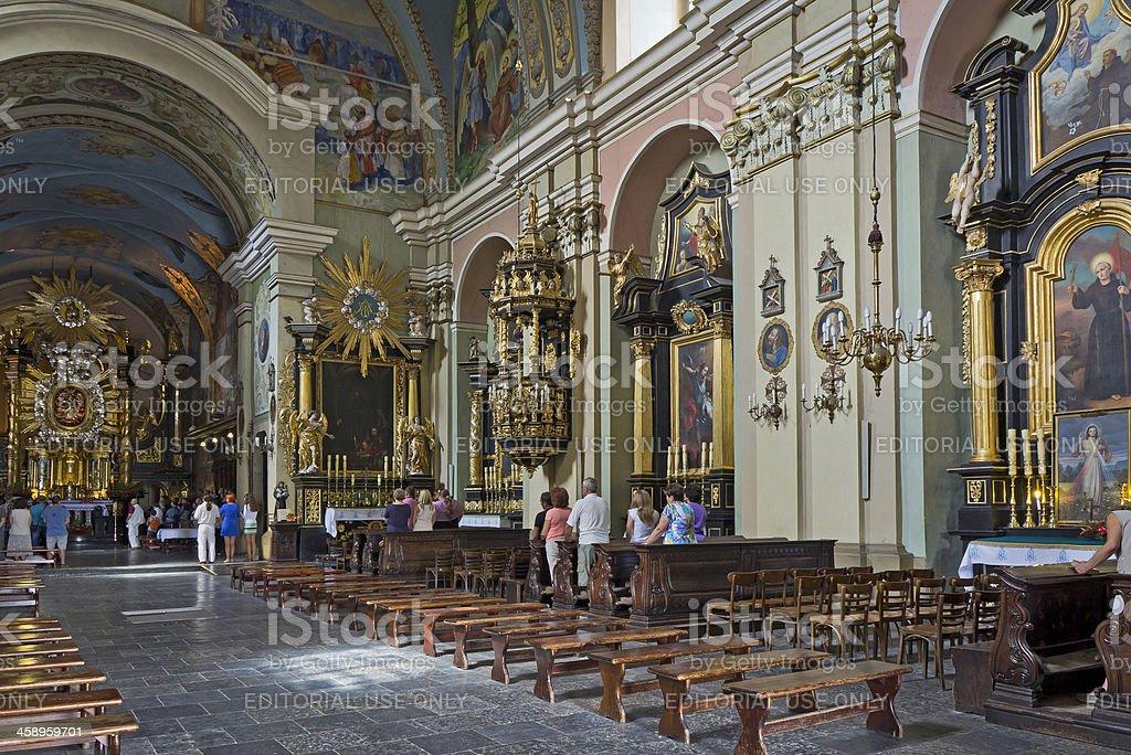 Interior of Bernardine monastery in Kalwaria Zebrzydowska stock photo