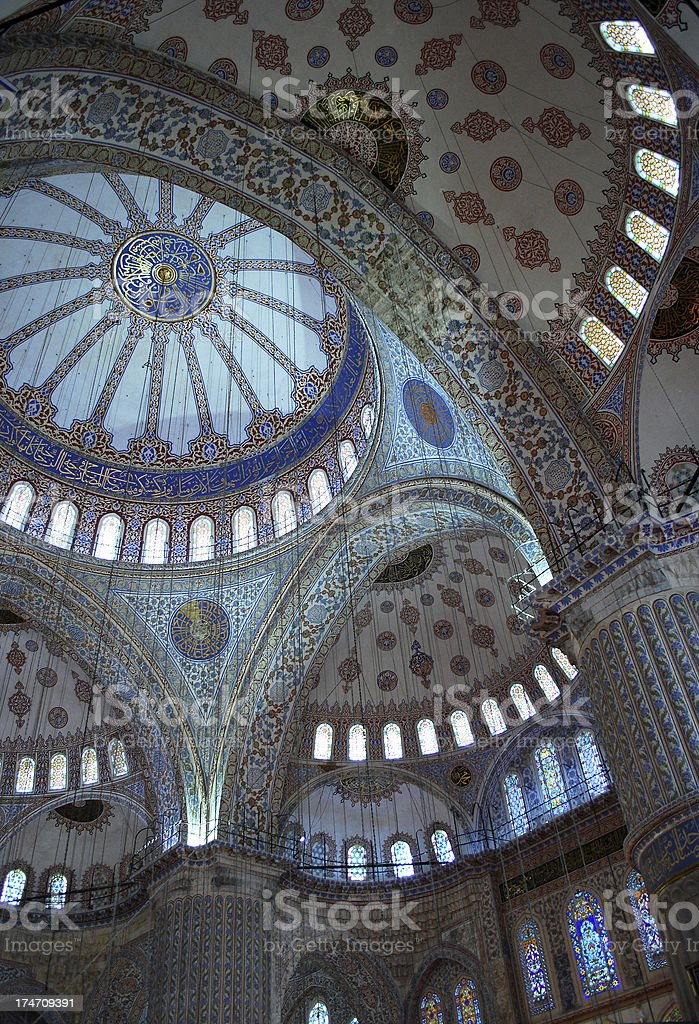 Interior of Blue Mosque royalty-free stock photo
