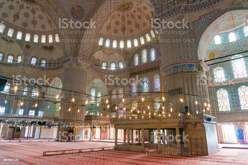 Interior of Blue Mosque, Sultanahmed Mosque stock photo