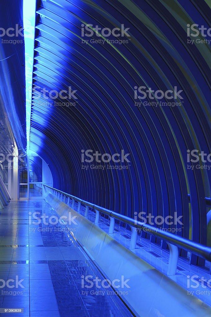 Interior of bridge with blue light royalty-free stock photo