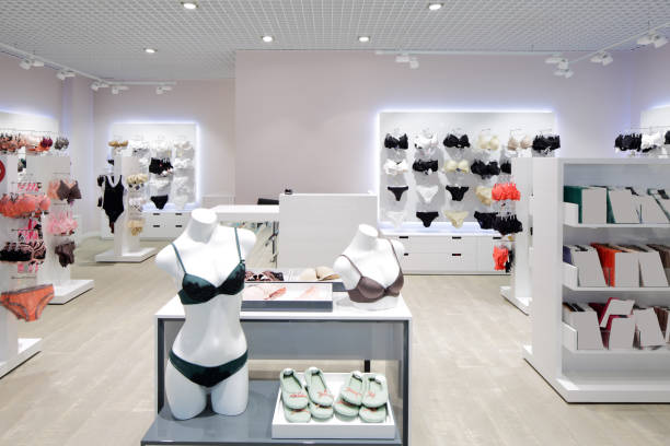 interior of bright underwear shop modern and fashionable interior of underwear shop lingerie stock pictures, royalty-free photos & images