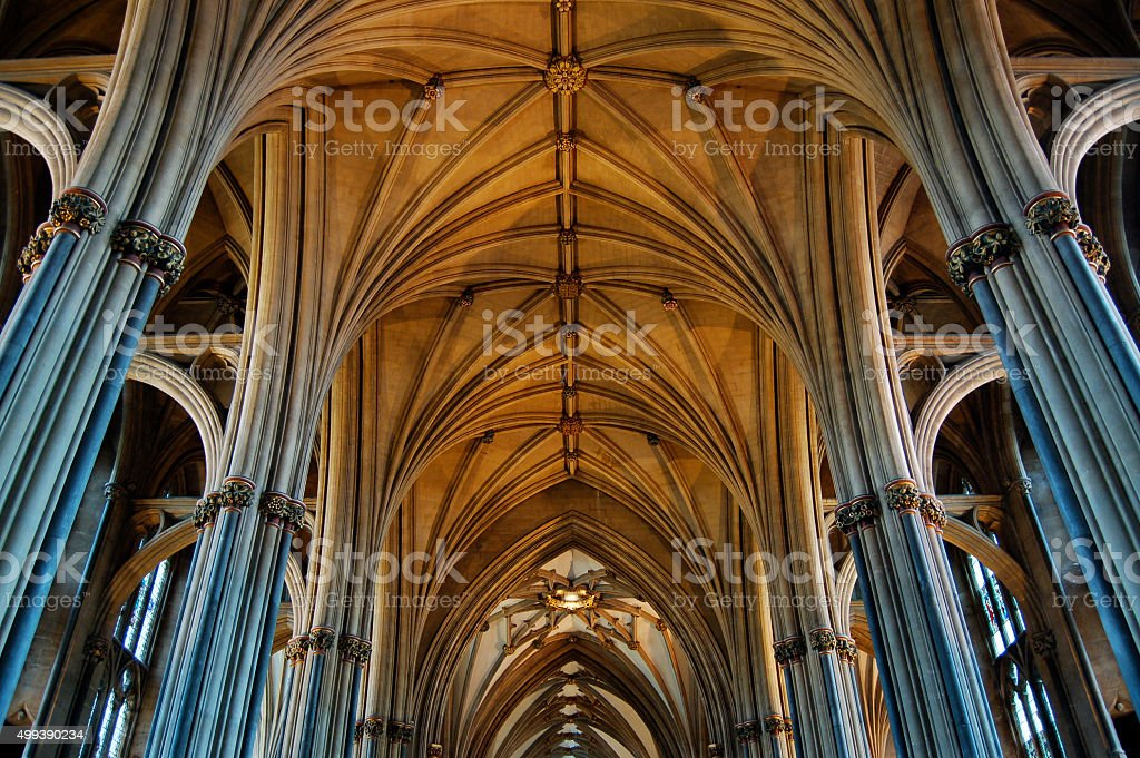 Interior of Bristol Cathedral Building England stock photo