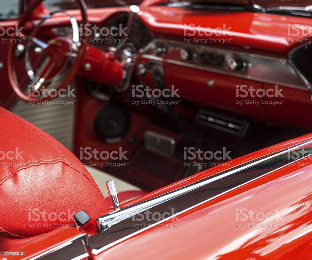 Interior Of Candy Apple Red Vintage Collectors Car stock photo
