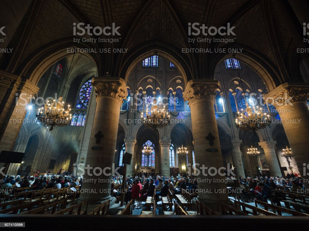 Interior of Cathedrale Notre Dame, medieval Catholic cathedral. stock photo