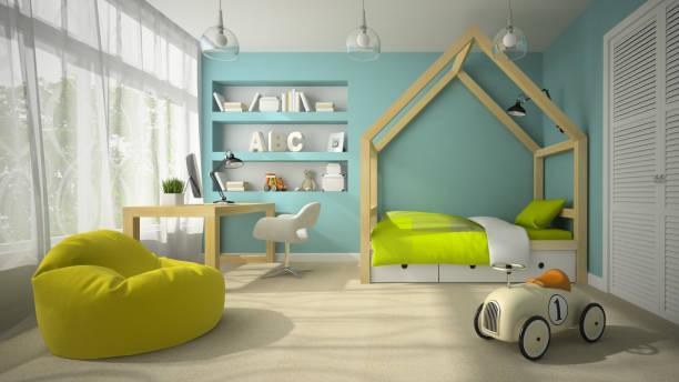 innenansicht der kinder zimmer mit etagenbetten 3d-abbildung - etagenbett weiss stock-fotos und bilder
