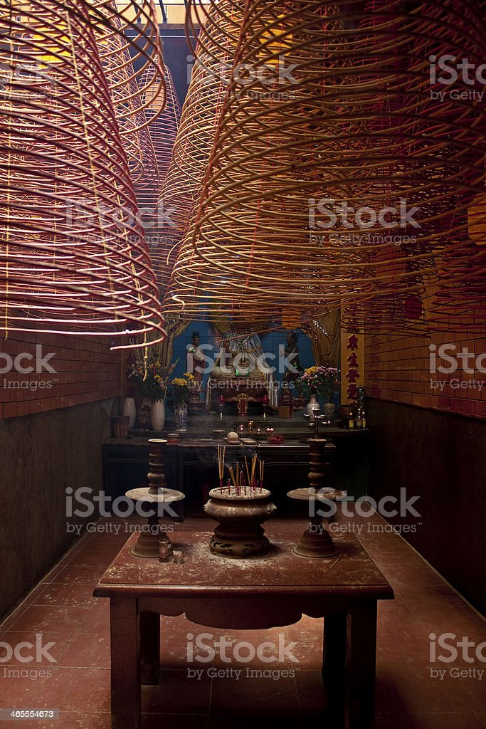 Interior of chinese Ong Temple royalty-free stock photo