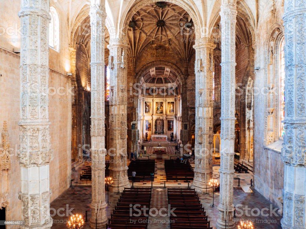Interior of Church at Jeronimos Monastery stock photo
