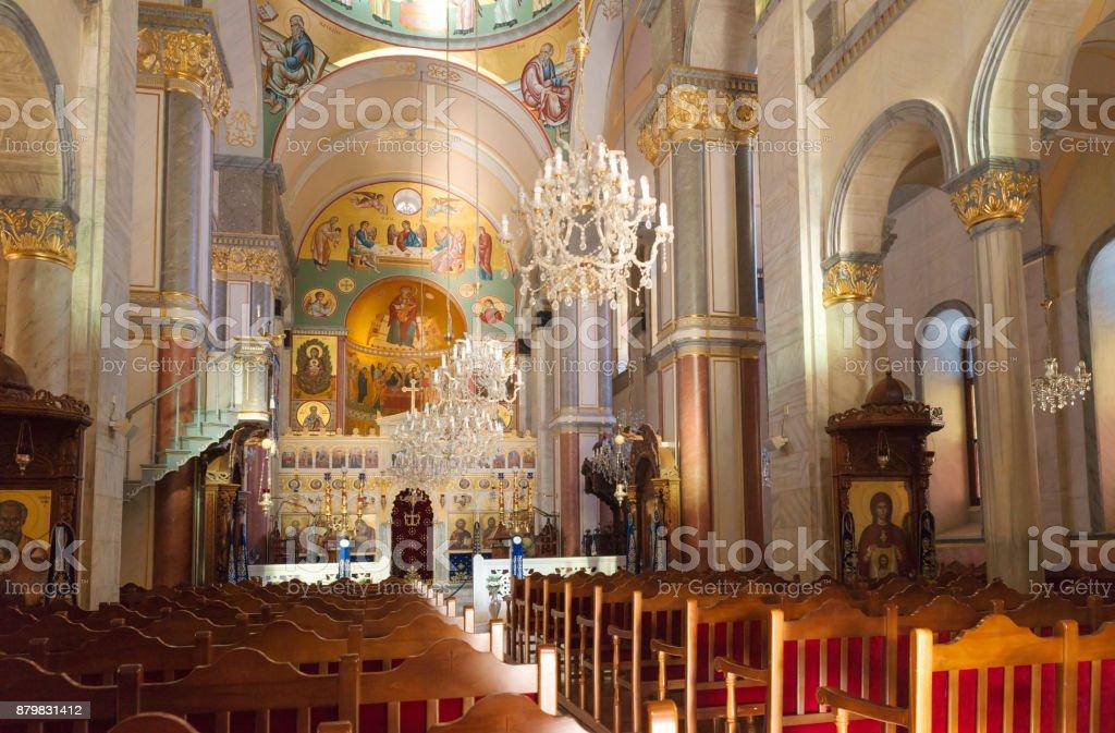 Interior of Church in cyprus orthodox monastery stock photo