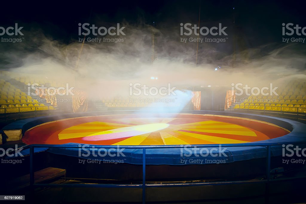 Interior of circus with fog effect stock photo