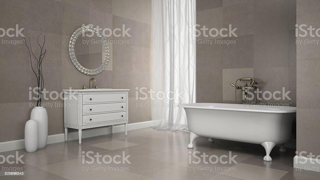 Interno bagno classico con grigio muro di piastrelle di rendering