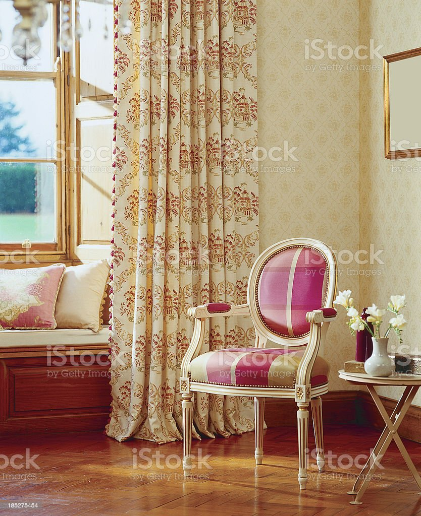 Interior of classic formal chair in window royalty-free stock photo