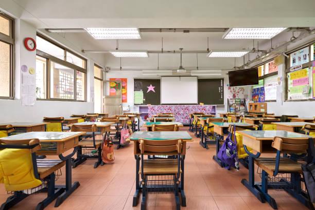 小學教室內部 - 無人 個照片及圖片檔