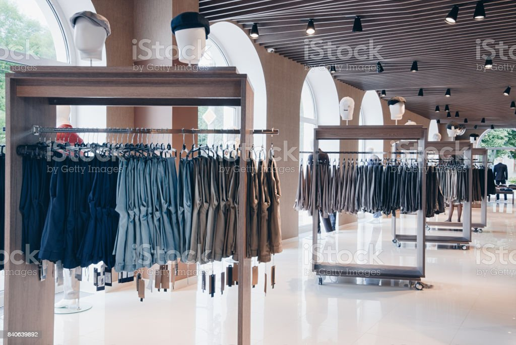 interior of clothing store stock photo