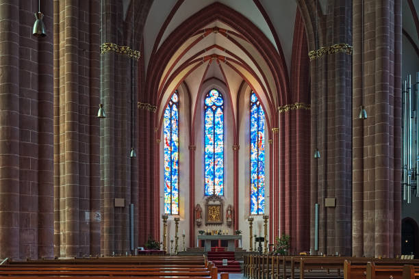 Interior of Collegiate Church of St. Stephan in Mainz, Germany stock photo