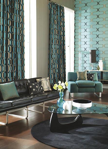 interior of colourful contemporary living room - sessel türkis stock-fotos und bilder