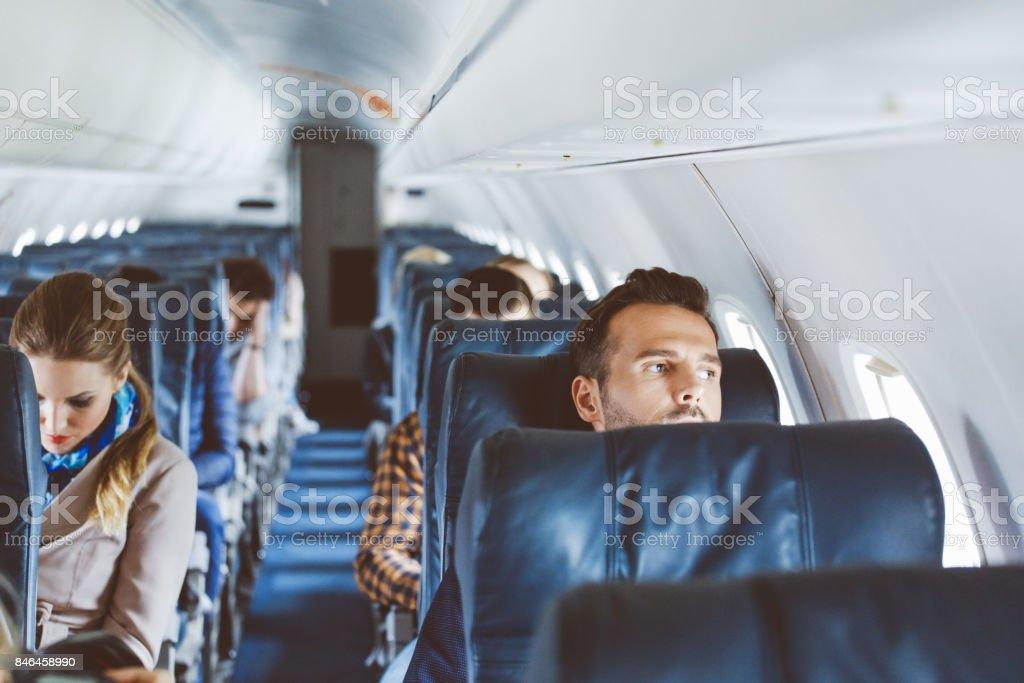 Innere des Verkehrsflugzeug-Kabine – Foto