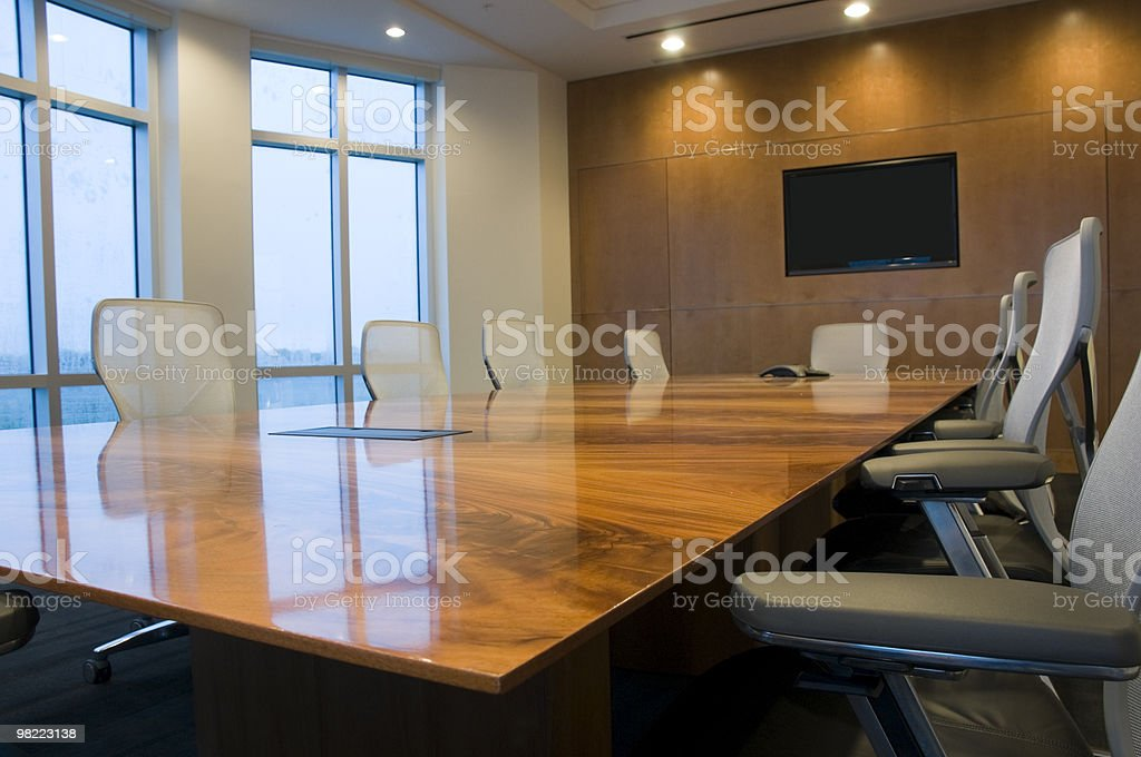 Interior of conference room with vacated seats royalty-free stock photo