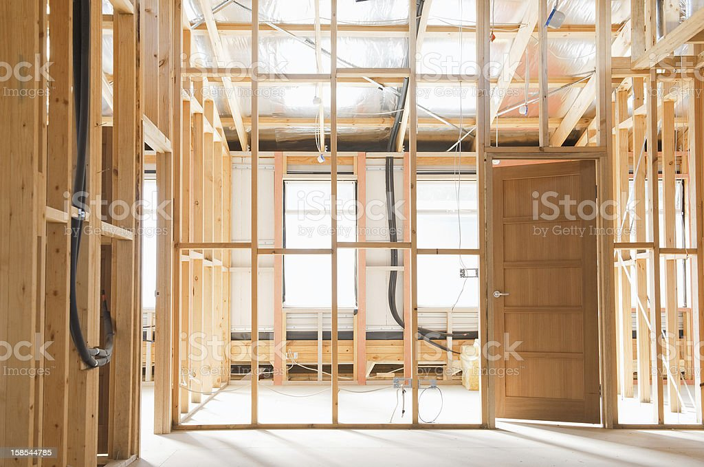 Interior of  construction  home stock photo