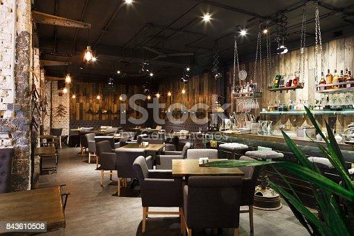 istock Interior of cozy restaurant, loft style 843610508