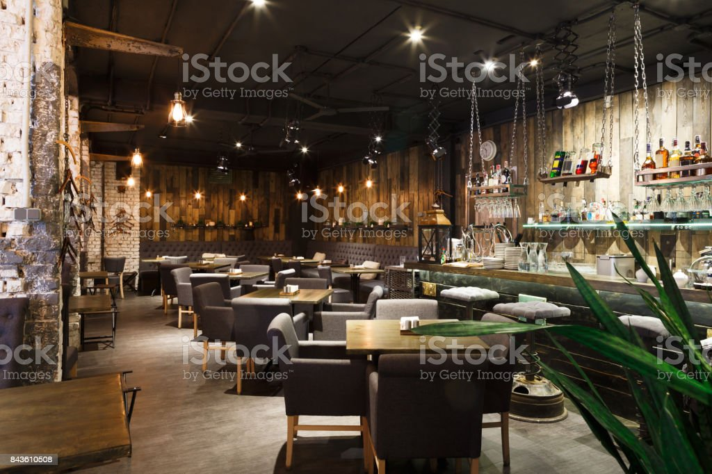 Interior of cozy restaurant, loft style stock photo