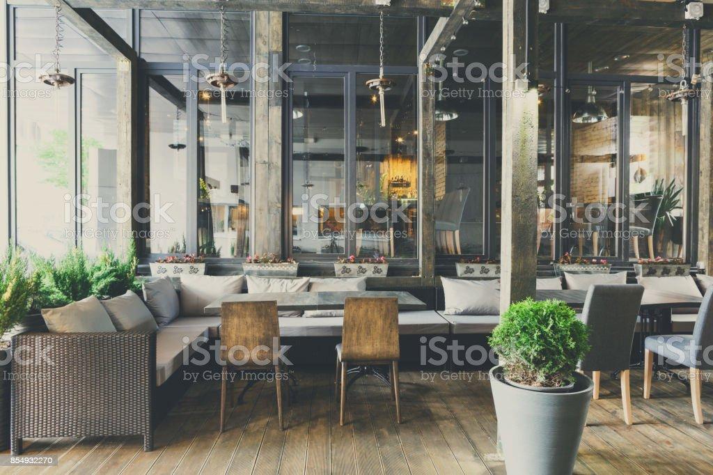 Interior of cozy restaurant, loft style stock photo
