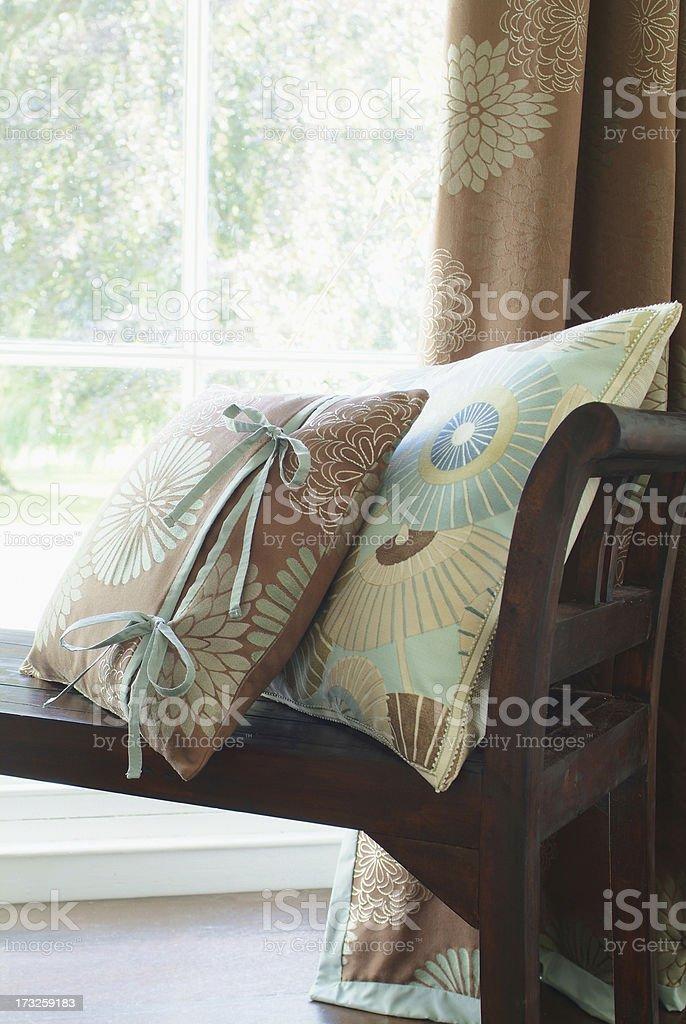 Interior of cushions on window seat royalty-free stock photo