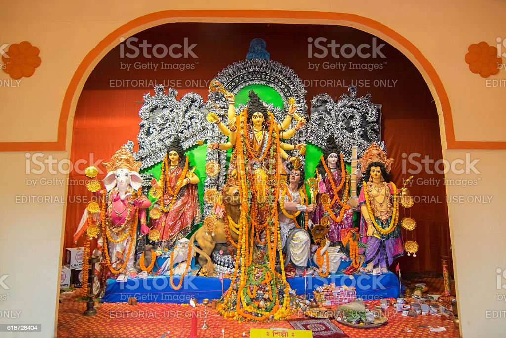 Interior of decorated durga puja pandal kolkata west bengal india interior of decorated durga puja pandal kolkata west bengal india royalty altavistaventures Image collections
