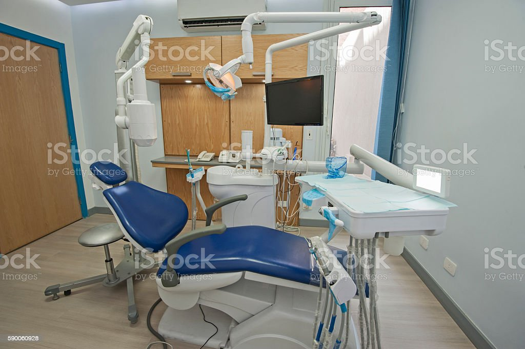 Interior of dentist surgery clinic with chair stock photo