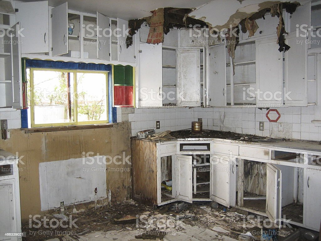 Interior of Derelict House stock photo