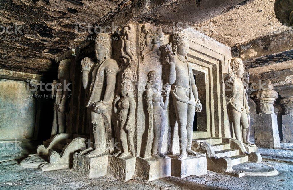 Interior of Dhumar Lena temple at Ellora Caves, India stock photo