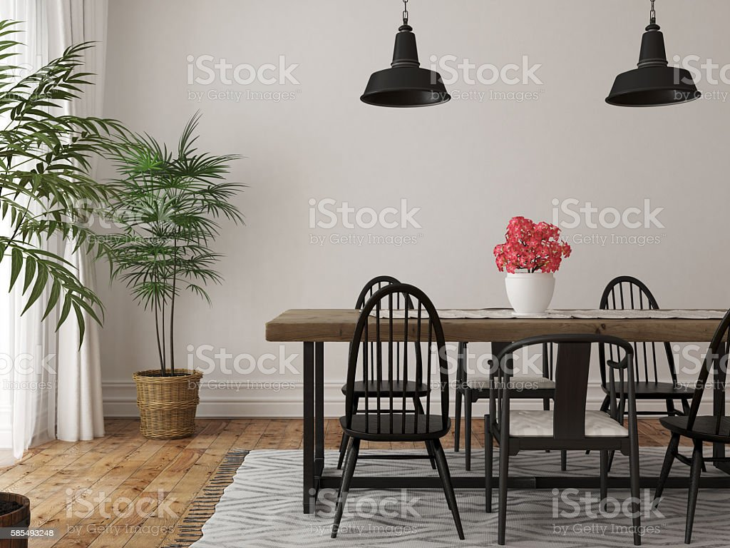 Interior of dining area with stock photo