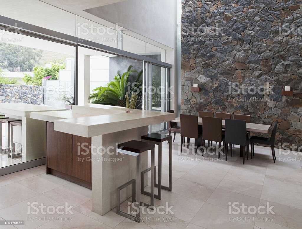 Interior of Dining Room of Luxury house royalty-free stock photo